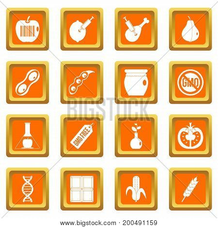 GMO icons set in orange color isolated vector illustration for web and any design