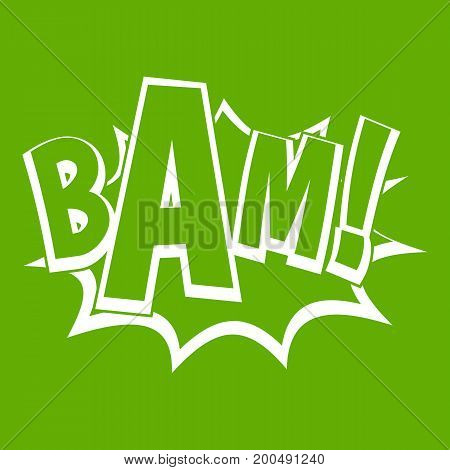 BAM, comic book bubble icon white isolated on green background. Vector illustration