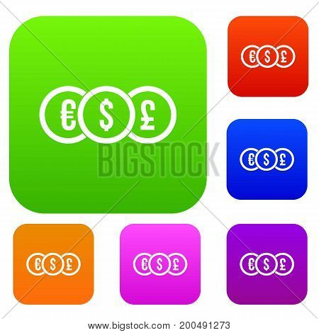 Euro, dollar, pound coin set icon in different colors isolated vector illustration. Premium collection