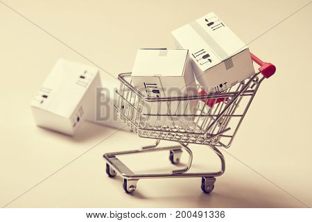 shopping trolley with boxes