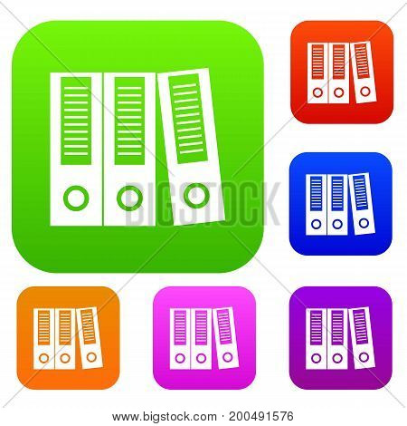 Office folders set icon in different colors isolated vector illustration. Premium collection