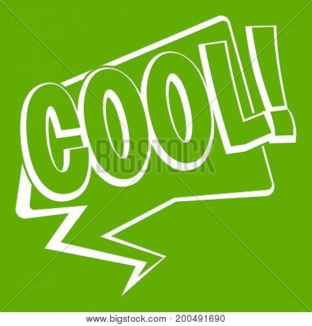 COOL, comic text speech bubble icon white isolated on green background. Vector illustration