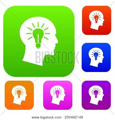 Light bulb inside head set icon in different colors isolated vector illustration. Premium collection
