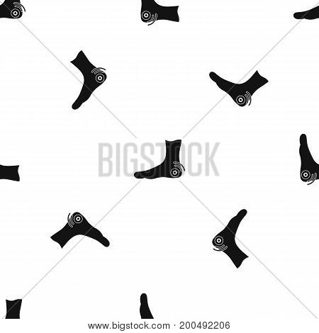 Foot heel pattern repeat seamless in black color for any design. Vector geometric illustration