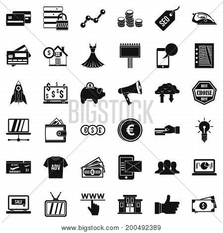 Online buying icons set. Simple style of 36 online buying vector icons for web isolated on white background
