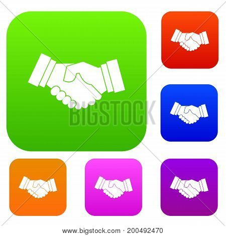 Handshake set icon in different colors isolated vector illustration. Premium collection