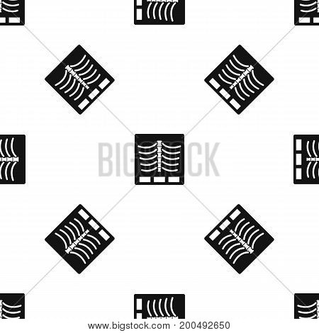 X ray photo pattern repeat seamless in black color for any design. Vector geometric illustration