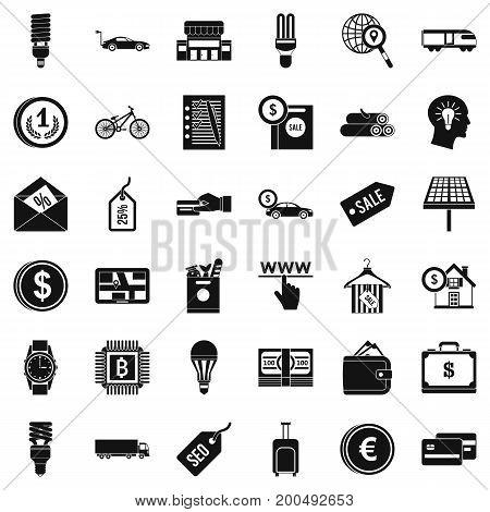 Money economy icons set. Simple style of 36 money economy vector icons for web isolated on white background