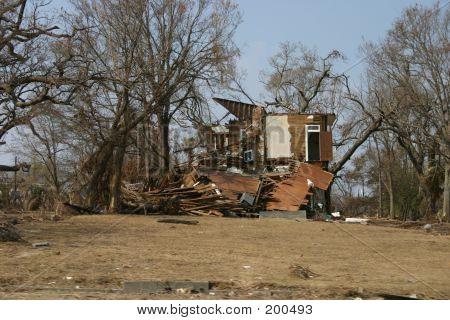 Biloxi Home Damaged By Hurricane Katrina