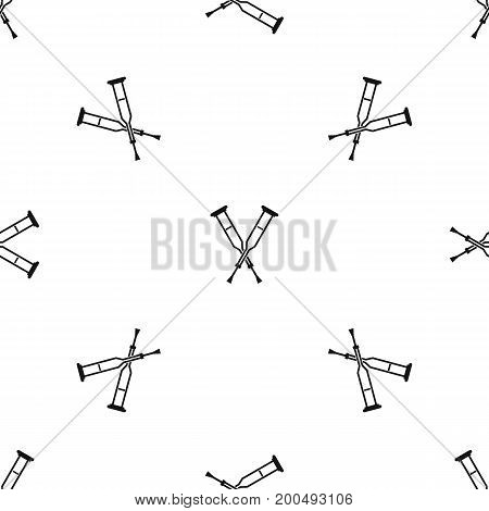 Crutches pattern repeat seamless in black color for any design. Vector geometric illustration