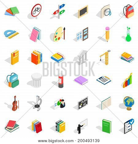 Education in country icons set. Isometric style of 36 education in country vector icons for web isolated on white background