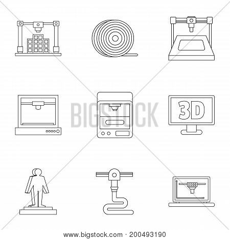 3d printer icon set. Outline set of 9 3d printer vector icons for web isolated on white background