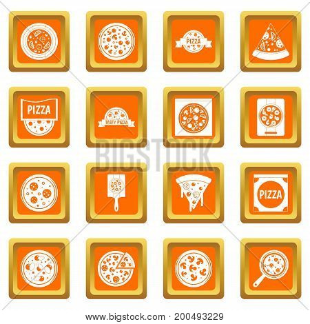 Pizza icons set in orange color isolated vector illustration for web and any design