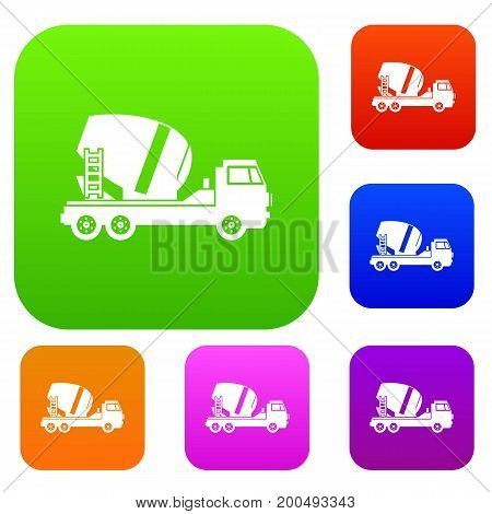 Concrete mixer truck set icon in different colors isolated vector illustration. Premium collection