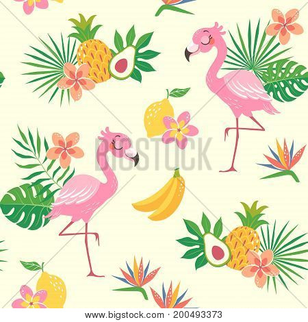 Cute seamless pattern of a flamingo bird with tropical flowers leaves and fruit.
