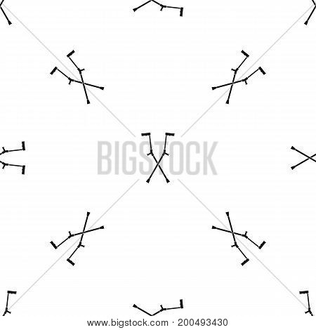 Other crutches pattern repeat seamless in black color for any design. Vector geometric illustration