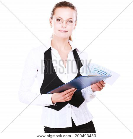 A young woman standing with folder in office isoalted on white background.