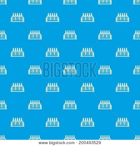 Manufacturing factory building pattern repeat seamless in blue color for any design. Vector geometric illustration