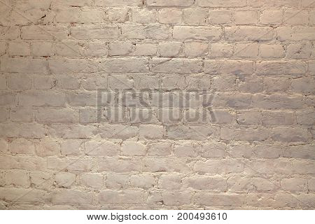 Weathered texture of stained old light brown and red brick wall background grungy rusty blocks of stone-work technology colorful horizontal architecture