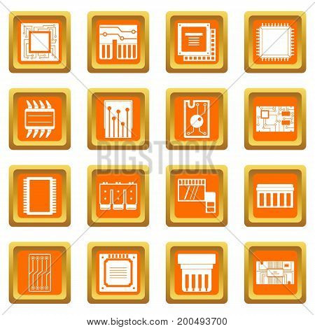 Computer chips icons set in orange color isolated vector illustration for web and any design