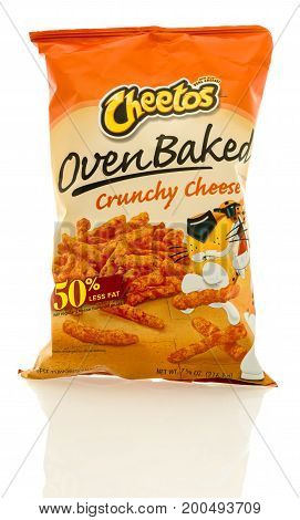 Winneconne WI - 19 August 2017: A bag of Cheetos oven baked crunchy cheese flavor on an isolated background