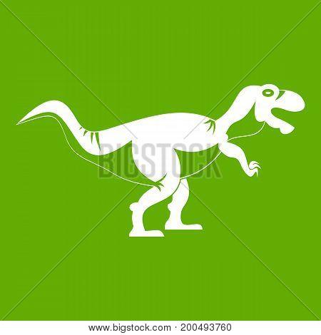 Tyrannosaur dinosaur icon white isolated on green background. Vector illustration