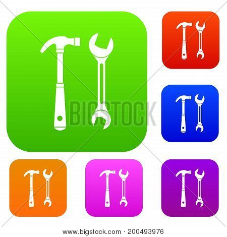 Hammer and wrench set icon in different colors isolated vector illustration. Premium collection