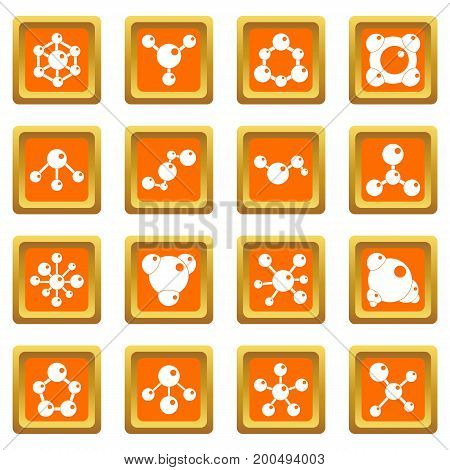 Molecule icons set in orange color isolated vector illustration for web and any design