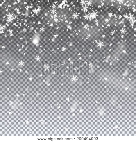 Falling snowflakes and snow. Vector illustration on transparent background. Template for winter christmas design.