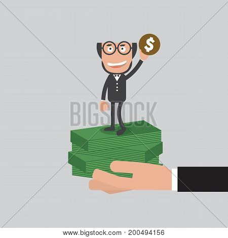 Businessman Raise Hand Up With A Coin Refer To Be A Millionaire Concept Vector Illustration. EPS 10