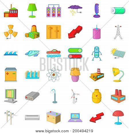 Electricity tower icons set. Cartoon style of 36 electricity tower vector icons for web isolated on white background