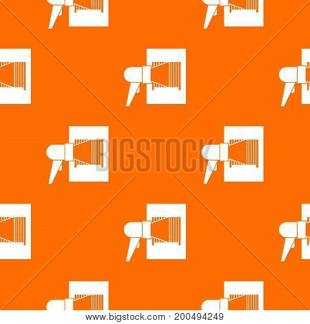 Bar code on cargo pattern repeat seamless in orange color for any design. Vector geometric illustration