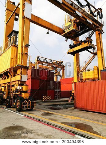 Rubber Tried Gantry Cranes (RTG) At Industrial Port
