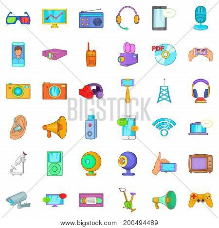 Useful device icons set. Cartoon style of 36 useful device vector icons for web isolated on white background