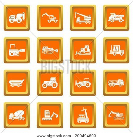 Building vehicles icons set in orange color isolated vector illustration for web and any design