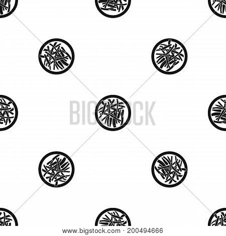 Asian salad pattern repeat seamless in black color for any design. Vector geometric illustration
