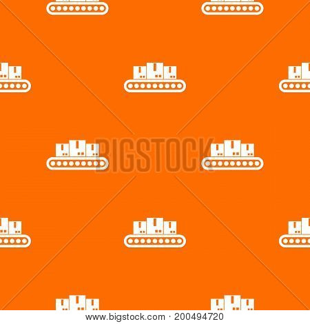 Belt conveyor with load pattern repeat seamless in orange color for any design. Vector geometric illustration