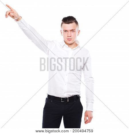 Portrait of young man isolated on white background.