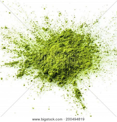 Matcha green tea powder closeup. Matcha is made of finely ground green tea powder. It's very common in japanese culture. Matcha is healthy due to it's high antioxydant count.