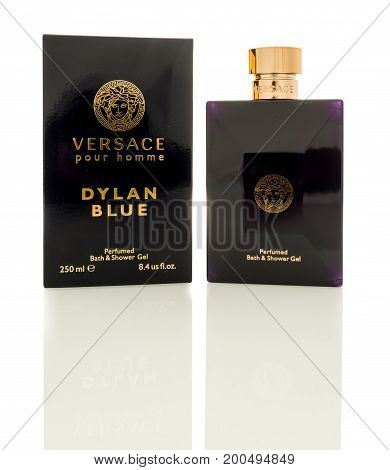 Winneconne WI - 19 August 2017: A bottle of Versace Dylan Blue shower gel on an isolated background