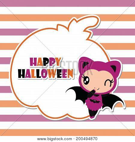 Cute bat girl on pumpkin frame vector cartoon illustration for halloween card design, wallpaper and kid t-shirt design