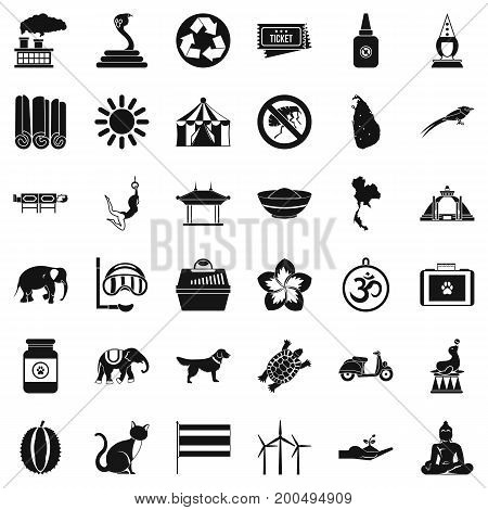 Animal elephant icons set. Simple style of 36 animal elephant vector icons for web isolated on white background