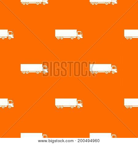 Truck pattern repeat seamless in orange color for any design. Vector geometric illustration