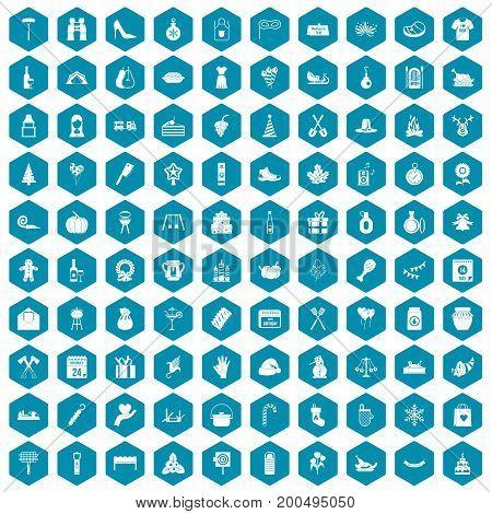 100 family tradition icons set in sapphirine hexagon isolated vector illustration