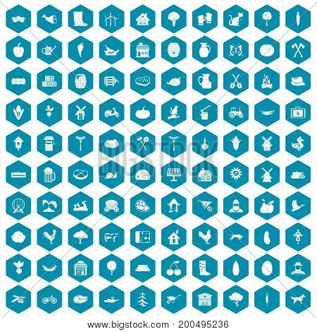 100 farm icons set in sapphirine hexagon isolated vector illustration