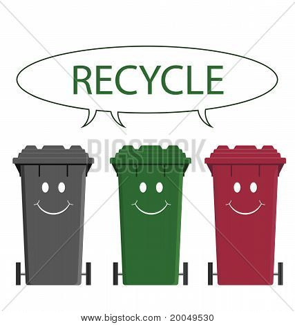 Happy recycling bins isolated on white background poster