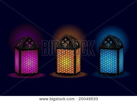 Colorful Beautiful Egyptian lamps - Vector Illustration poster