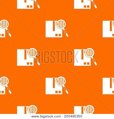 Quality control pattern repeat seamless in orange color for any design. Vector geometric illustration