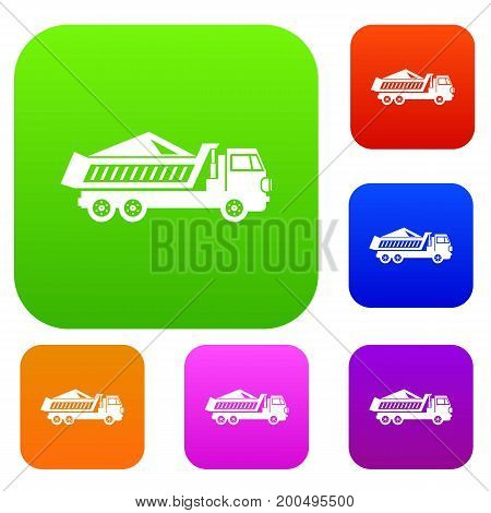 Dump track set icon in different colors isolated vector illustration. Premium collection