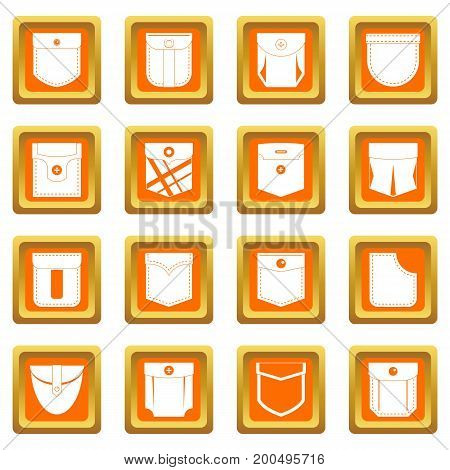 Pocket types icons set in orange color isolated vector illustration for web and any design